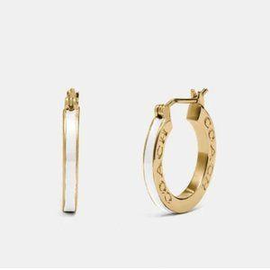 COACH Gold Chalk Huggie Earrings